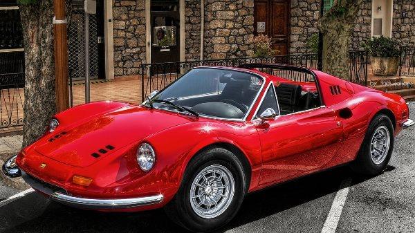 The actual Ferrari Dino 246 GT Sports vehicle